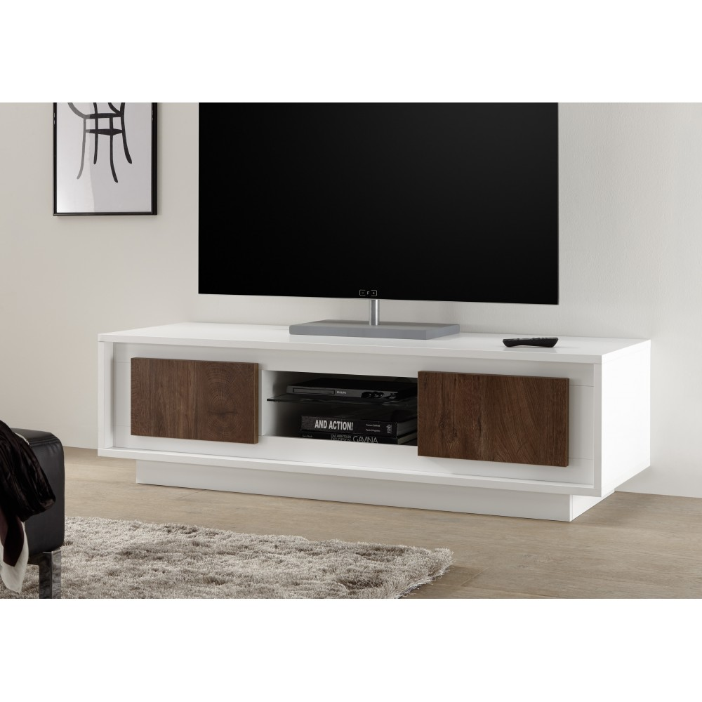 Meuble Tv Hifi Design Meuble Hifi Design En Verre Noir 113 Cm  # Meuble Tv Chicago But