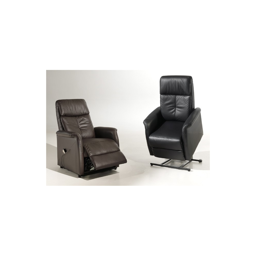 fauteuil de relaxation cuir lectrique avec releveur bertrand. Black Bedroom Furniture Sets. Home Design Ideas