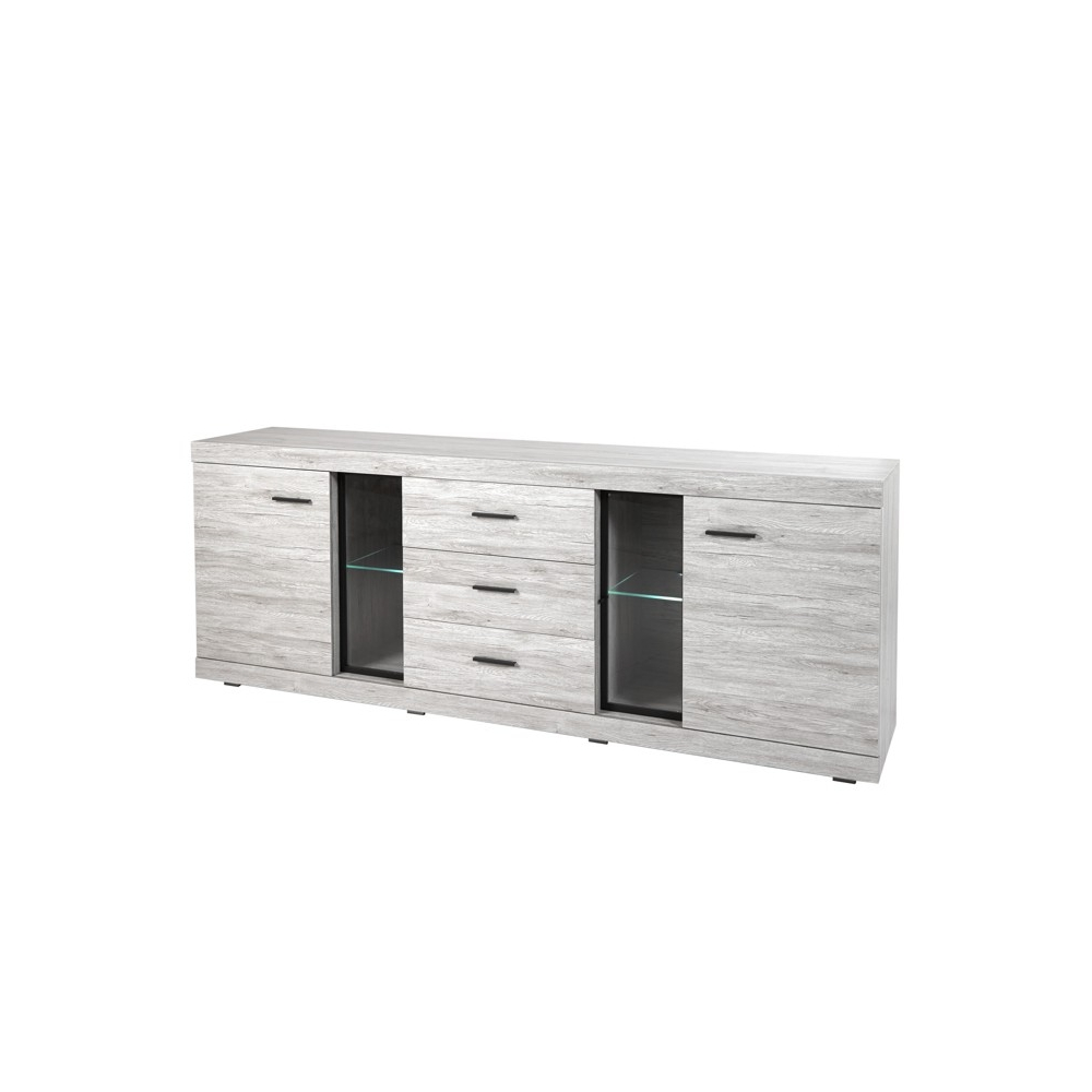 bahut design contemporain buffet bahut bas contemporain 3 portes blanc taupe kendo buffet bahut. Black Bedroom Furniture Sets. Home Design Ideas