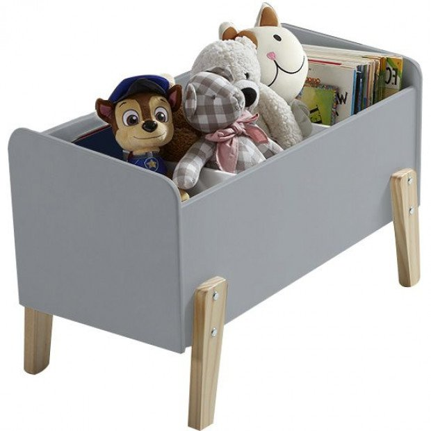coffre jouets chily gris 80 cm meubles thiry. Black Bedroom Furniture Sets. Home Design Ideas